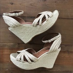 Lucky Brand Gold Espadrille Wedge Sandals